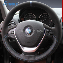 For BMW 118i High Quality Hand-stitched Anti-Slip Black Leather Suede Blue Thread DIY Steering Wheel Cover