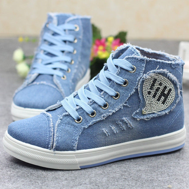 MIVNSKVE 2017 washed denim New arrival white height increasing women's high heel platform canvas shoes women solid color 35~44