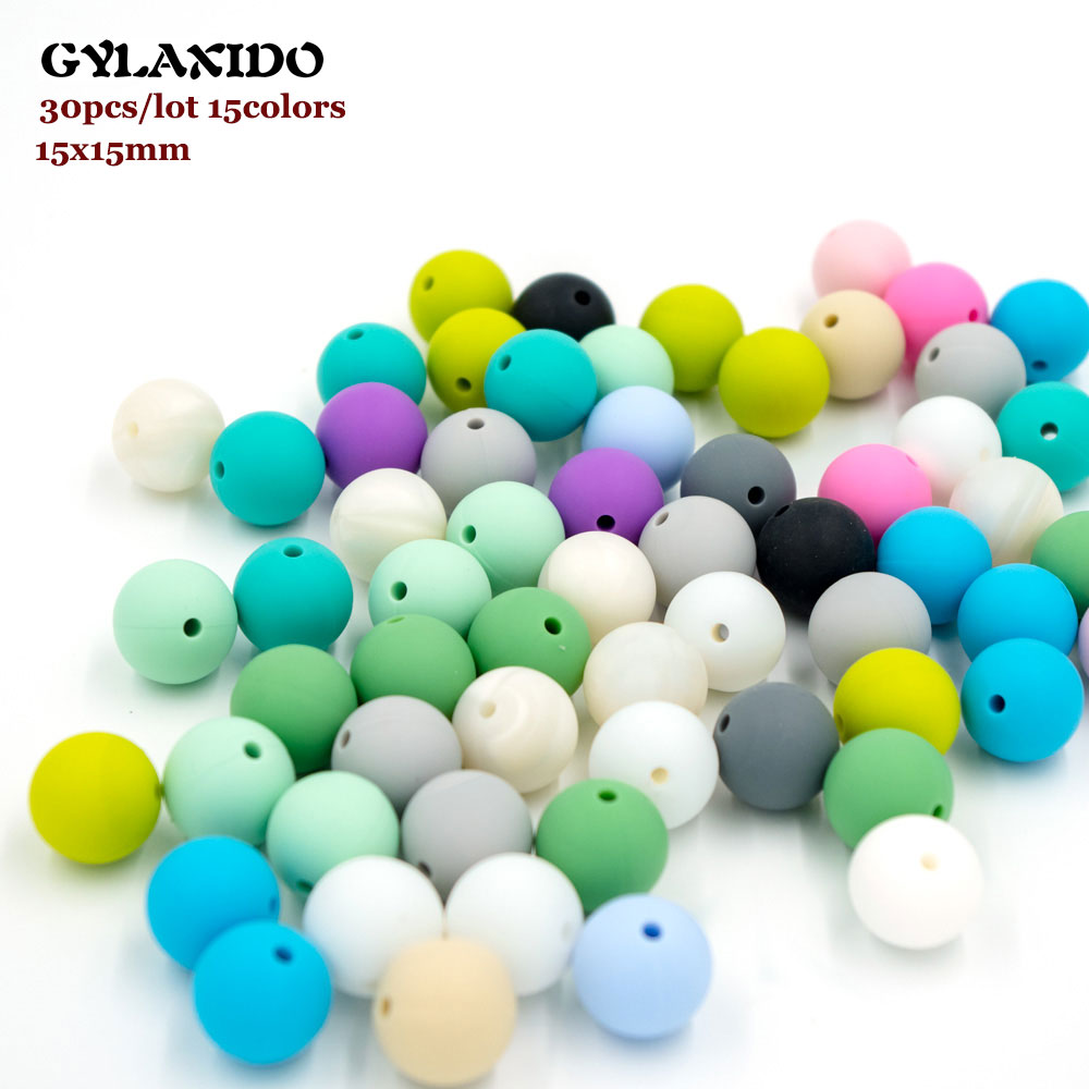 30Pcs Silicone Beads 15mm Perle Silicone Dentition Teething Toys Food Grade Baby Products Chews Pacifier Chain Necklace Bead