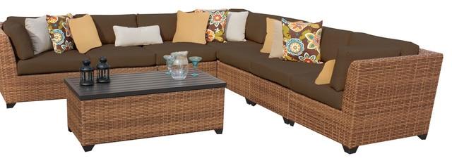 2017 Classic Furniture 8 Piece Outdoor Wicker Patio L Shape Sofa Set
