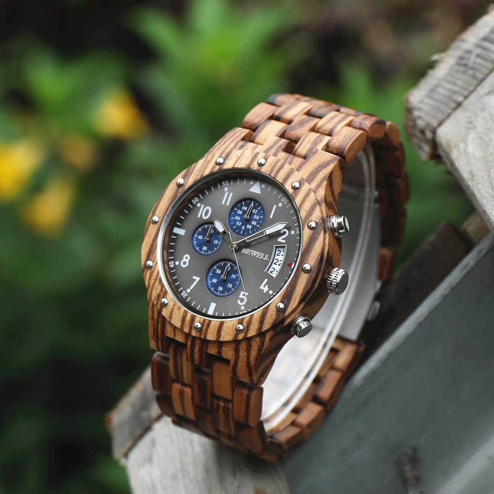 BEWELL 2018 relojes de pulsera de sándalo con diseño de reloj para hombre, marca de lujo, cronógrafo de cuarzo, Calendario, Reloj Masculino, 109D