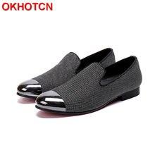 43c88079a Homens Moda Rhinestore Camurça Loafer Shoes Vestido de Festa Pontas Do Dedo  Do Pé de Metal