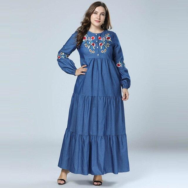 2f645c45 2018 Women Jean Dress Autumn Patchwork Abaya Muslim Embroidery Kaftan  islamic Dubai abayas Long sleeve dresses
