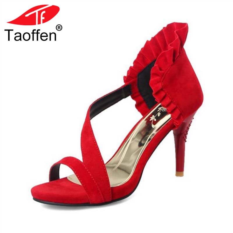 TAOFFEN Size 32-43 Women High Heel Sandals Real Leather Platform Ruffles Woman Summer Shoes Fashion Ornate Sandals Party Shoes karinluna 2018 large size 31 43 fashion ruffles women shoes sandals fashion wedges high heels party summer shoes woman