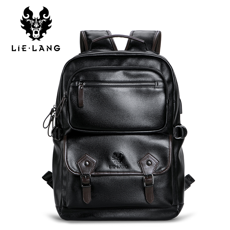 LIELENG Men Waterproof Backpack Fashion Trend Men s Simple Youth Travel School Bag Computer leather Bag