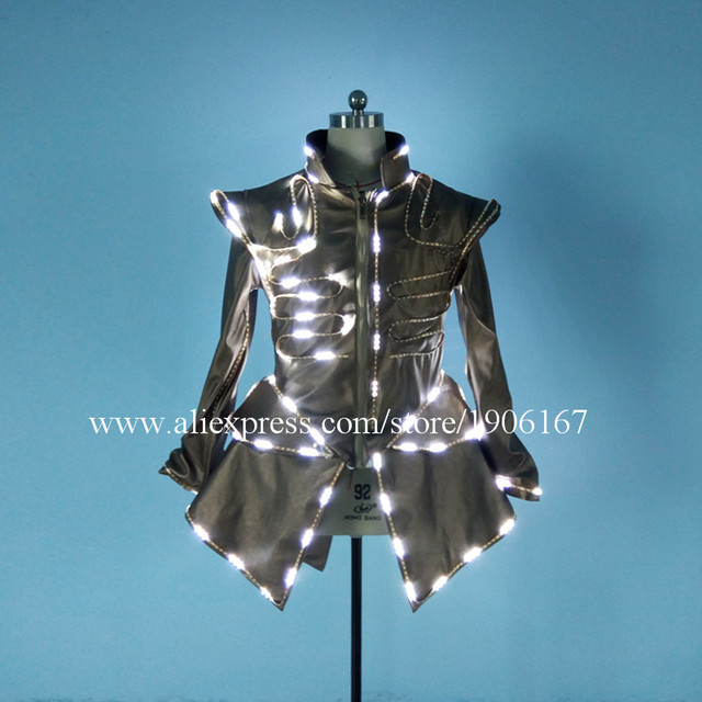 Cool Led Luminous Party Dress LED Light Up Growing Stage Performance Sexy Women DJ Singer Dancer's Ballroom Costume