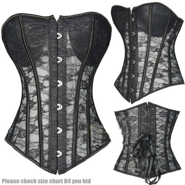 3aea75c4c1 Black Sexy Hollow Out Waist Trainer Corset Women s Lace Up Boned Slimming  Lingerie Corsets And Bustiers