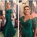 2016 sexy Plus Size Mãe Dos vestidos de Noiva Chiffon pescoço Longo Vestido com Apliques em Azul Marinho