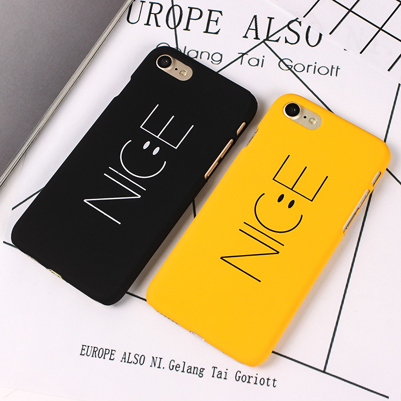 cba80065bf JAMULAR Cute NICE Case For iphone 8 7 Plus Letter Print Black Yellow PC Back  Cover