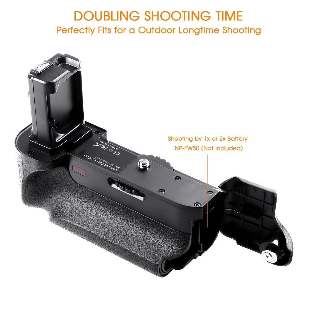 Poignée de batterie verticale Travor pour appareil photo sans miroir Sony A7 A7R A7S avec fonction IR fonctionne avec une batterie NP-FW50 comme VG-C1EM - 3