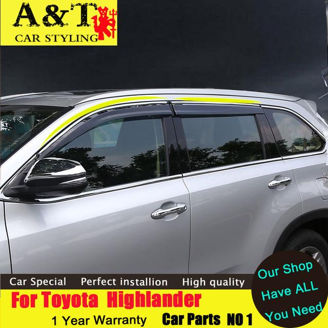 Styling de carro Para Toyota Highlander Chuva escudo 2015 2016 Highlander chuva engrenagem barômetro carro decorativo Decoração Da Janela tira Ca