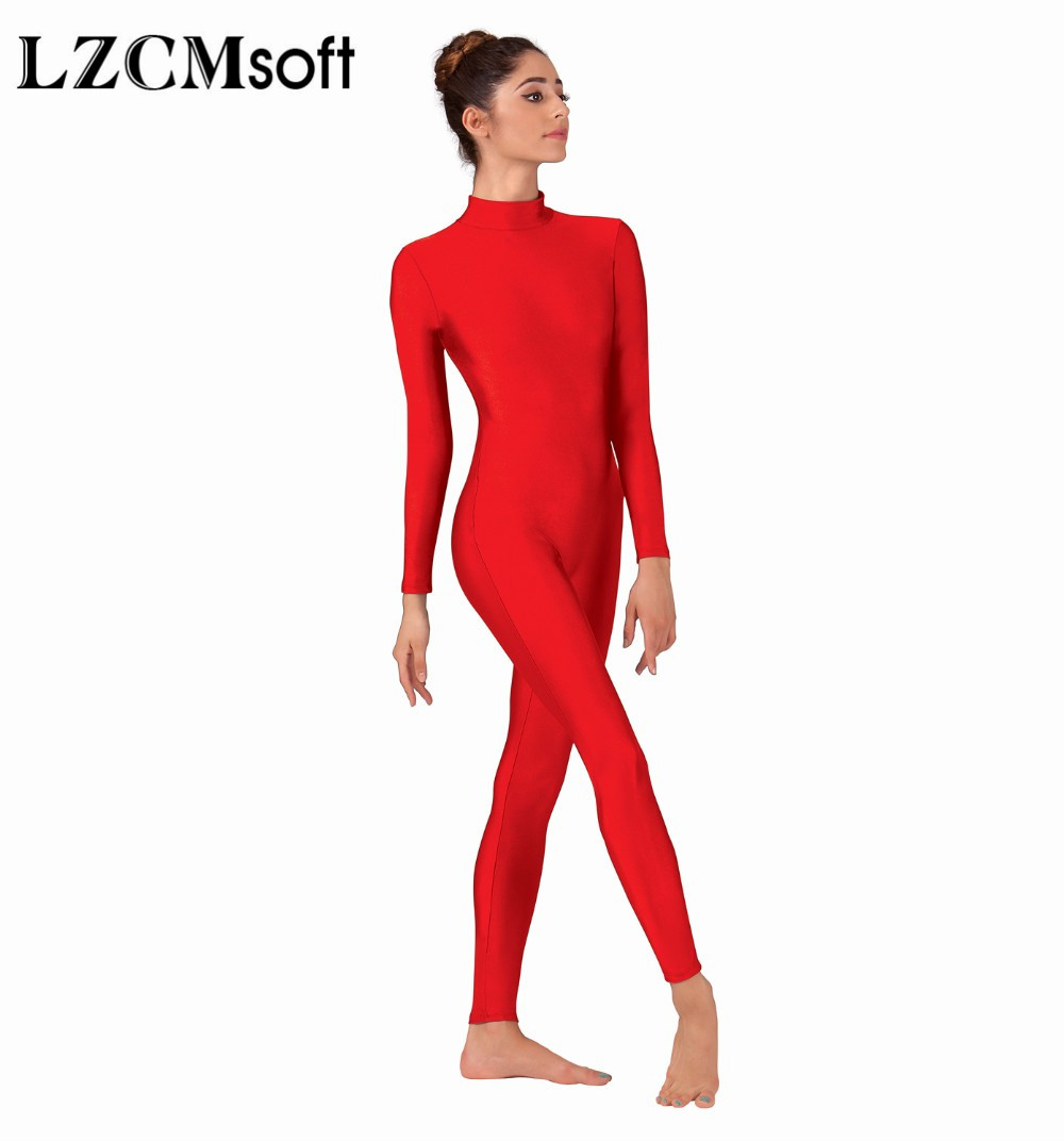 LZCMsoft Women Full Body Mock Neck Long Sleeve Ballet Unitards Bodysuit Adult Lycra Spandex Dance Suit Show Costumes-in Ballet from Novelty & Special Use