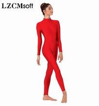LZCMsoft بدلة رقص للسيدات لكامل الجسم برقبة وهمية وأكمام طويلة بدلة رقص باليه للكبار بدلة رقص من الليكرا اللدنة ازياء العرض