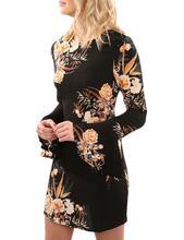 Yfashion Women Fashion Printing Dress Sexy Middle Waist Pagoda Long Sleeve