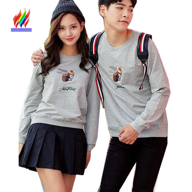 Matching Couple Clothes For Lovers Hoodies New Autumn Winter Tops Casual Black Gray Sweatshirts ...