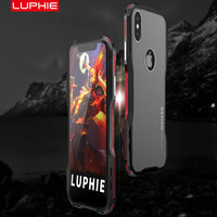SFor IPhone X Case LUPHIE Luxury CNC Cutting Double Color Metal Bumper Matte PC Plastic Back