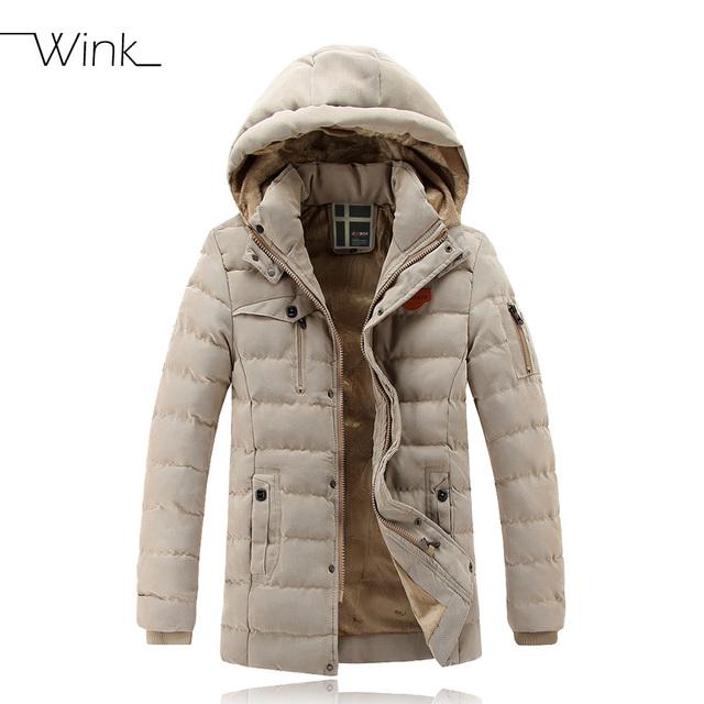 Lujo gruesa sección largo invierno chaqueta de moda abrigo con capucha de algodón acolchado de Down hombres Casual Parkas con capucha Outwear E437
