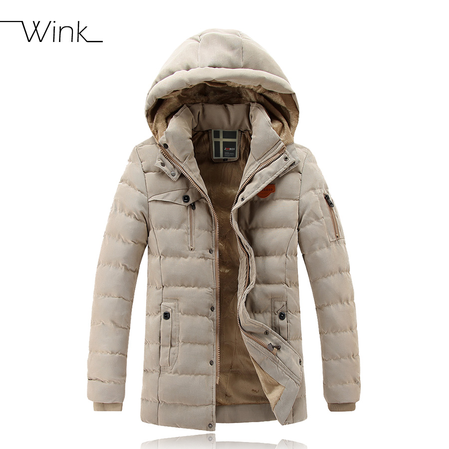 Luxury Thick Warm Men Winter Long Section Coat Fashion Jacket Hooded Cotton Down Padded Men Casual Parkas With Hood Outwear E437