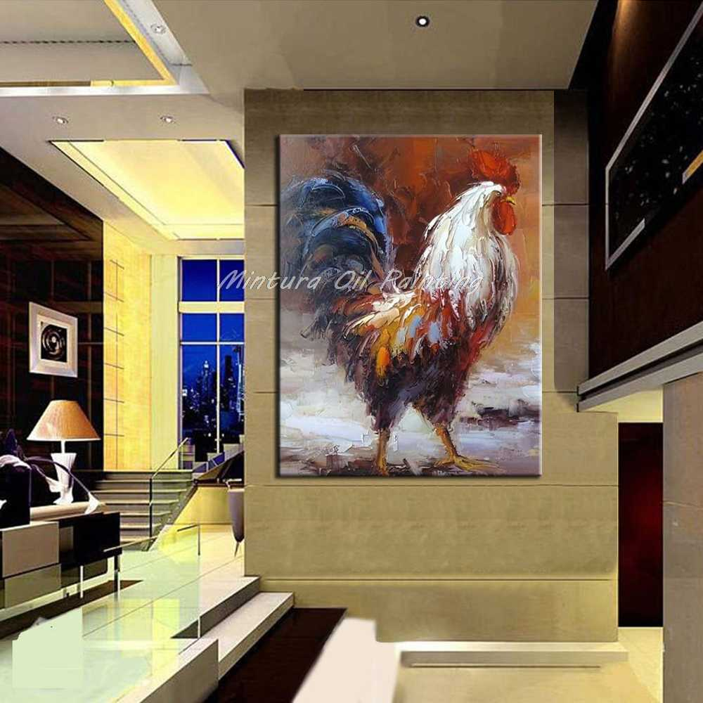 Mintura Art Hand Painted Cock Animal Oil Painting On Canvas Pop Art Modern Abstract Wall Art Picture For Kitchen Decor No Framed