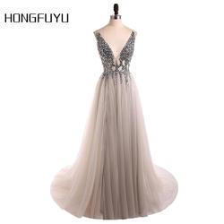 Сексуальное вечернее платье 2019 v-образный вырез бусины открытая спина линия Длинные Вечерние Платья Вечеринка vestido de festa Высокие Сплит