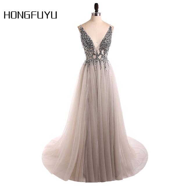 סקסי שמלת ערב 2019 V-צוואר חרוזים גב פתוח קו ארוך ערב שמלות המפלגה Vestido דה Festa גבוהה פיצול טול נשף שמלות
