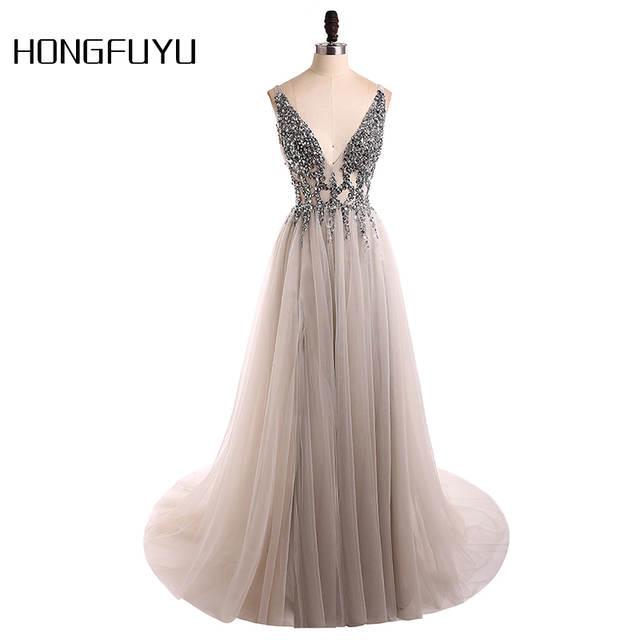 2bb95f72316 placeholder Сексуальное вечернее платье 2019 v-образный вырез бусины  открытая спина линия Длинные Вечерние Платья Вечеринка
