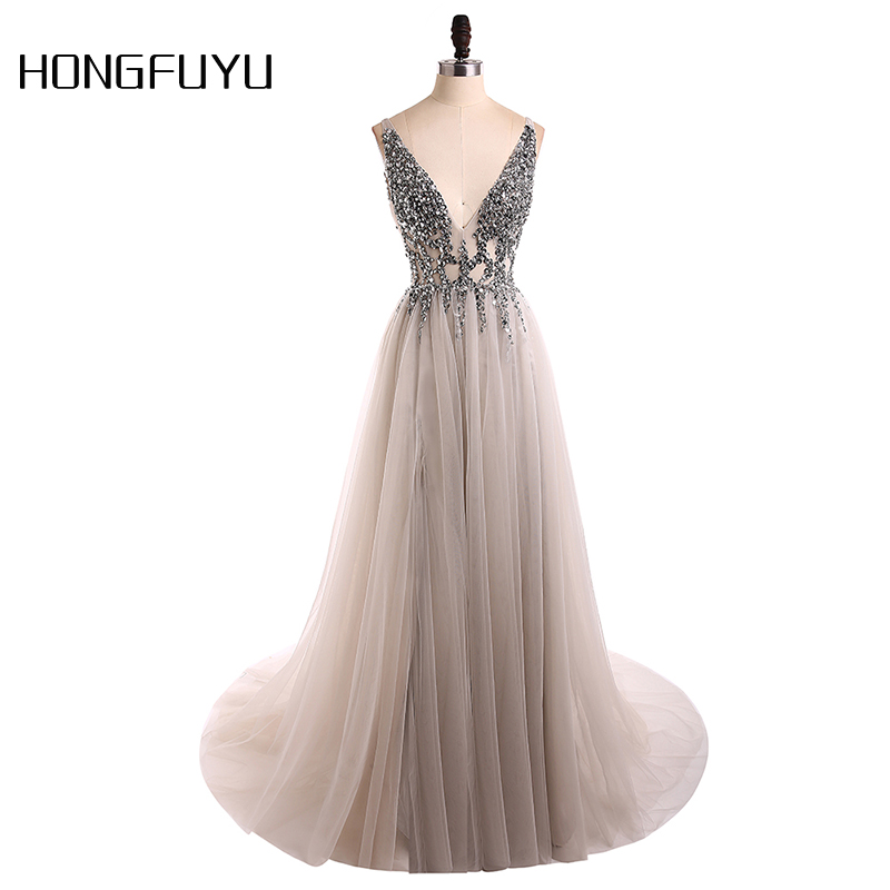 Sexy Evening Dress 2019 V-Neck Beads Open Back A Line Long Evening Dresses Party Vestido De Festa High Split Tulle Prom Gowns