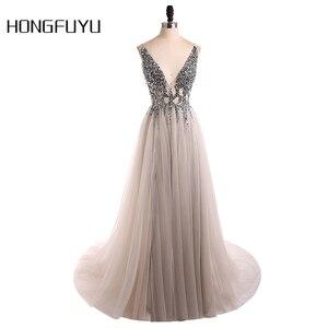 Sexy Evening Dress 2020 V-Neck Beads Open Back A Line Long Evening Dresses Party Vestido De Festa High Split Tulle Prom Gowns(China)