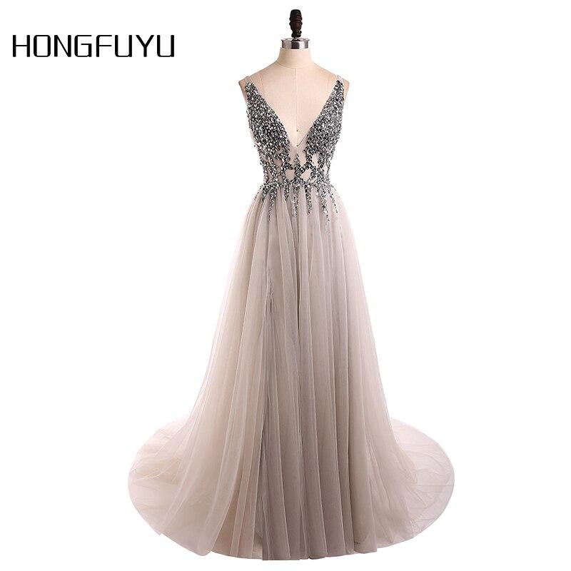 Sexy Evening Dress 2018 V Neck Beads Open Back A Line Long Evening Dresses Party Vestido De Festa High Split Tulle Prom Gowns