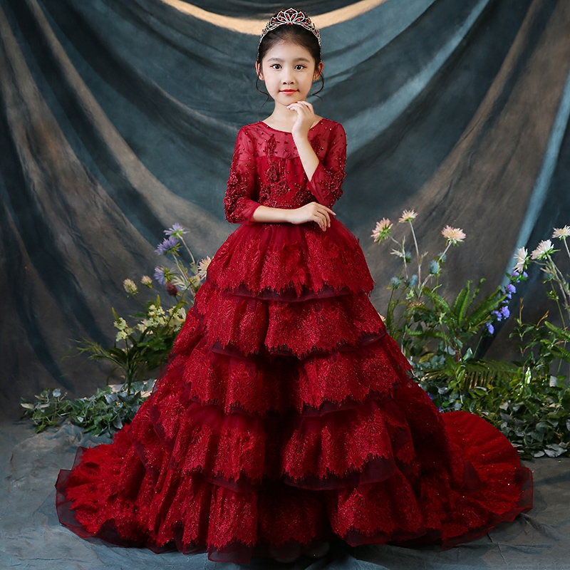Beading Flower Girl Dresses For Wedding Party Costume Ball Gown Long Sleeve Princess Dress Luxury Red Party Gown Communion D106Beading Flower Girl Dresses For Wedding Party Costume Ball Gown Long Sleeve Princess Dress Luxury Red Party Gown Communion D106