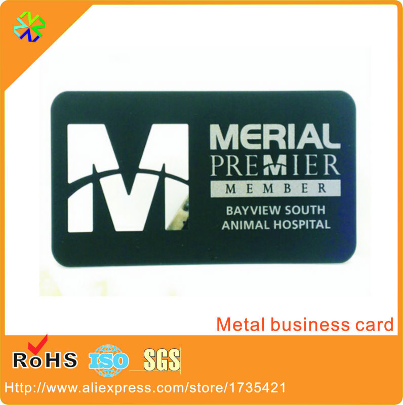 logo die cutting through words engraving stainless steel material 80*50mm black name card metal