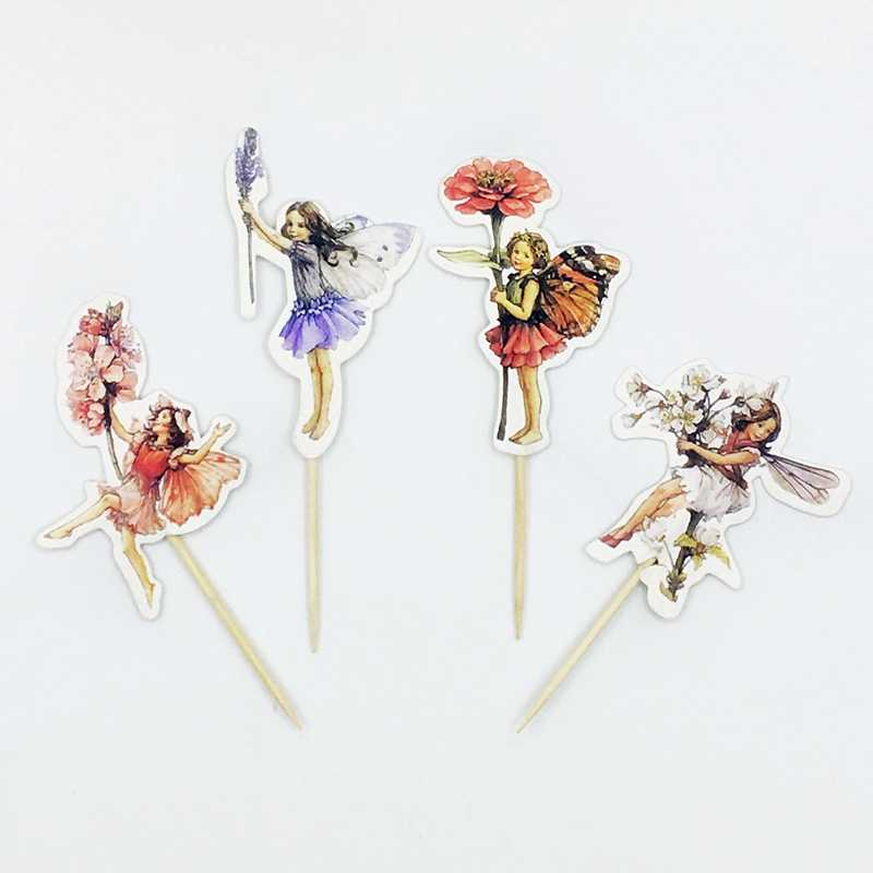 24 Pcs Bunga Peri Elf Perempuan Cupcake Topper Pick Anak-anak Ulang Tahun Pesta Bayi Pancuran Pernikahan Kue Bendera Stiker Dekorasi Persediaan