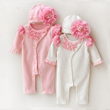 2 Pieces Infant Romper Climbing Clothes Coverall Newborn Clothing Set Lovely Lace Flower Girl Baby Rompers