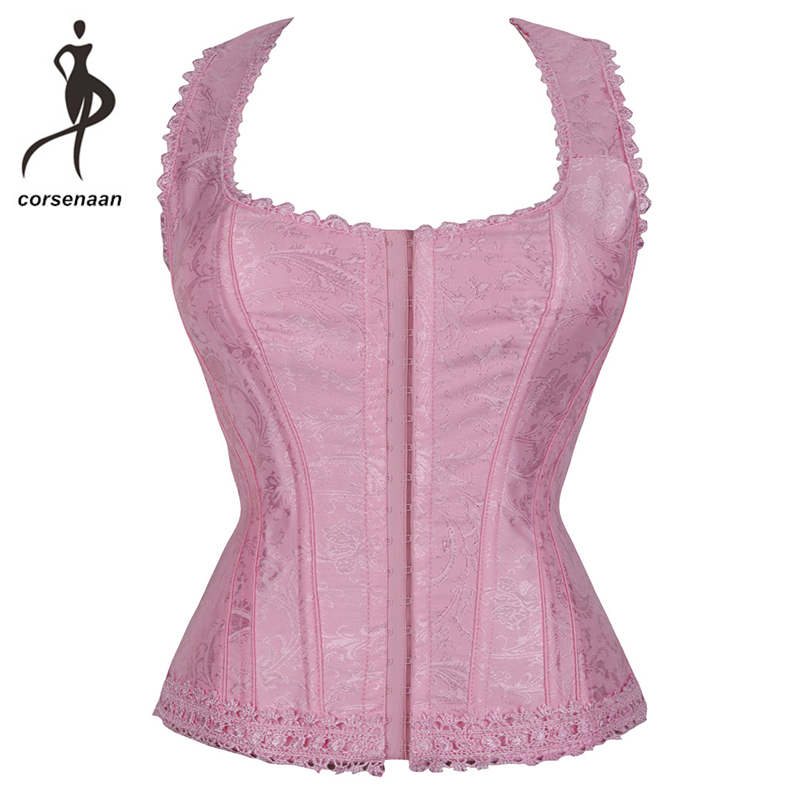 Vintage Women's Fashion Elegant Halter Satin Jacquard Lace Edge   Corset   Overbsut Corselet With G String 842#