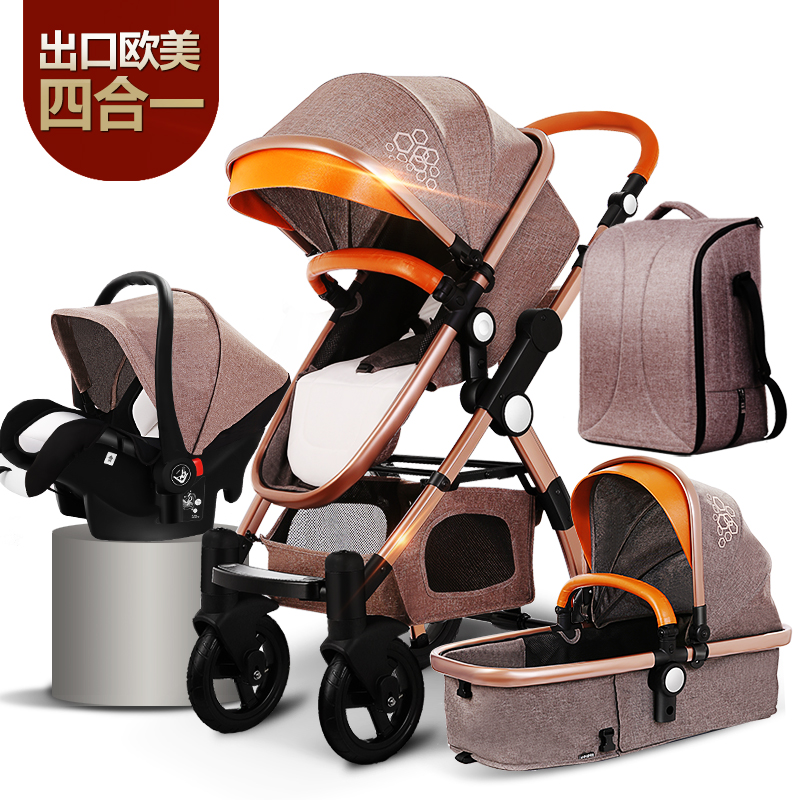 New Arrival Brand Baby Strollers <font><b>4</b></font> in 1 Baby Carriage Super Light Baby Strollers EU Standard 3 in 1 Baby Strollers image