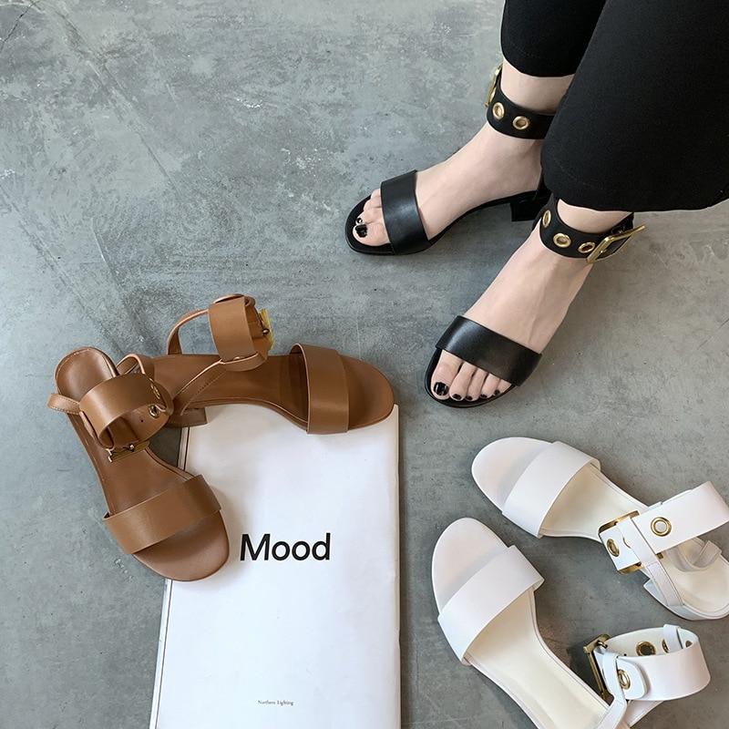 VIISENANTIN Chic 5cm Square Heel Women Summer Sandal Shoe Black Brown White Metal Ring Ankle Strap Open Toe Sandalias Cool Shoe in High Heels from Shoes