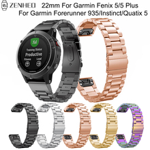 22mm stainless steel strap For Garmin Fenix 5/5 Plus Quick Release band For Garmin Forerunner 935/Instinct/Quatix 5 Smart Watch