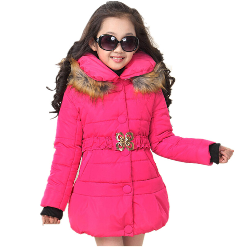 2018 Brand Girls Winter Warm Christmas Snow With Thick Cotton-Padded Long Jacket Kids Winter Long Sleeve With Fur Collar Coat 2017 winter coat women parka long thick warm cotton jacket large fur collar hooded warm parkas cotton padded outerwear hn137