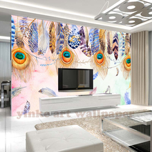 custom 3d Retro Luxury peacock feathers mural wall paper colours 3D embossed