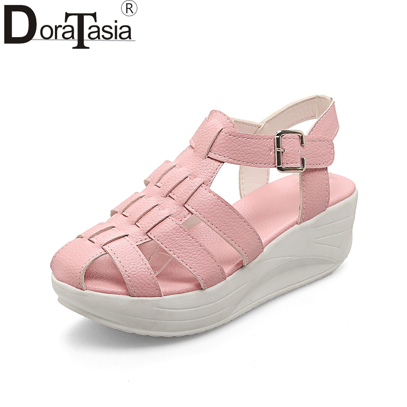 DoraTasia Big Size 33-43 Best Quality Summer Platform Gladiator Sandals Shoes Women Leisure Casual Comfortable Woman Shoes 32 43 big size summer woman platform sandals fashion women soft leather casual silver gold gladiator wedges women shoes h19