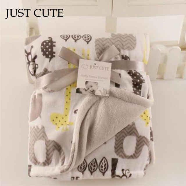 JUST CUTE Baby Blankets Thicken Double Layer Coral Fleece Infant Swaddle Bebe Envelope Wrap Owl Newborn Baby Bedding Blanket