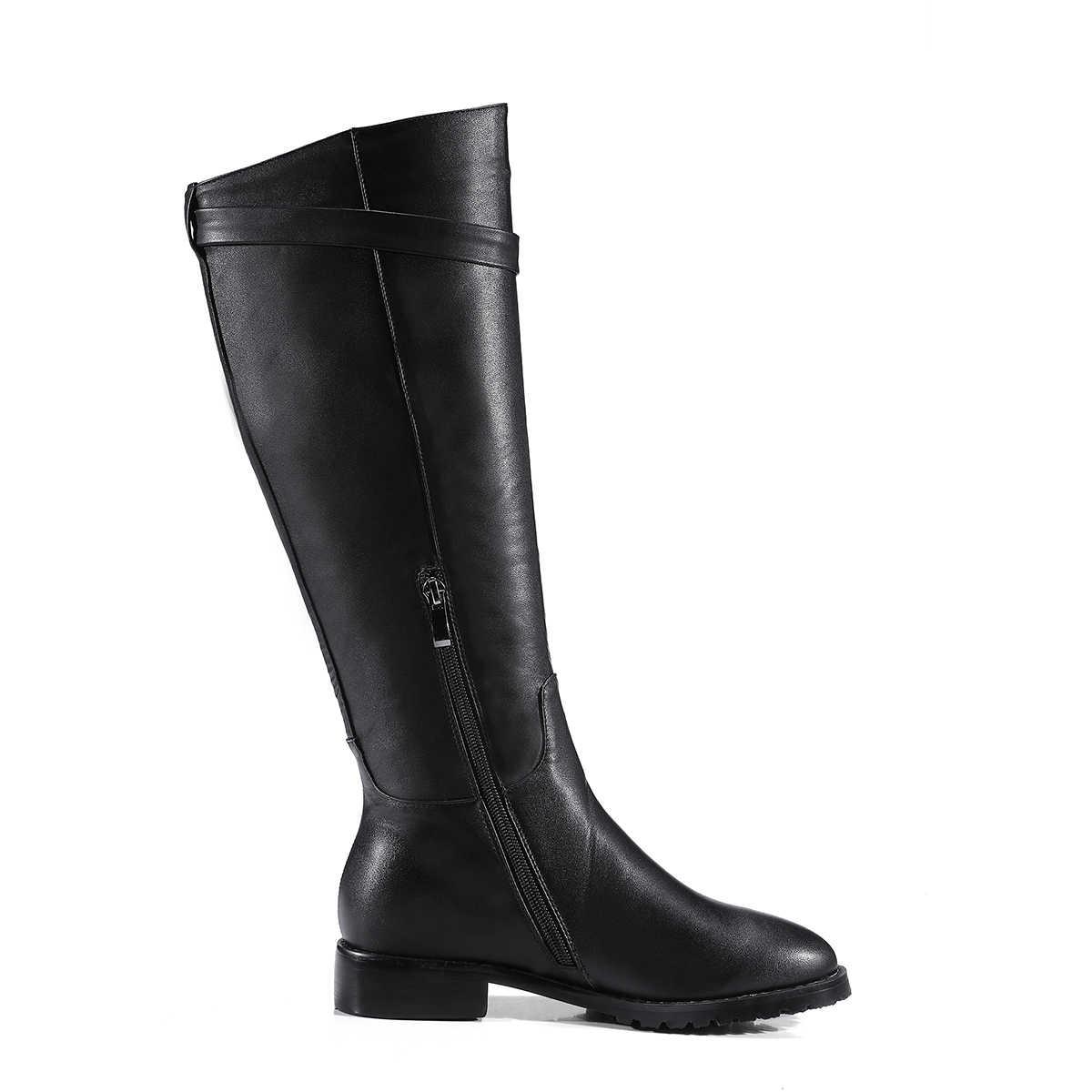 Winter Bequeme Flache Kniehohe Stiefel Frauen Faux Leder Niedrigen Ferse Zipper Stiefel Fell Warme Mode Frauen Schuhe Plus Größe 43 2018