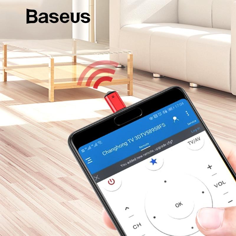 Baseus RO2 tipo C Jack control remoto IR Universal para Samsung Xiaomi control remoto infrarrojo inteligente para TV aircondition STB DVD
