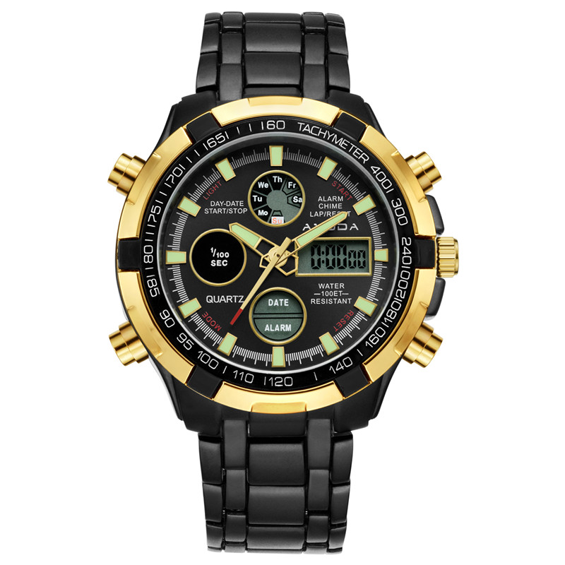 AMUDA 2018 Men Luxury Brand Fashion Watches Black Gold Watch Relogio Masculino Elegant Men Sports Quartz-watch Dual Time Saat 2018 amuda gold digital watch relogio masculino waterproof led watches for men chrono full steel sports alarm quartz clock saat