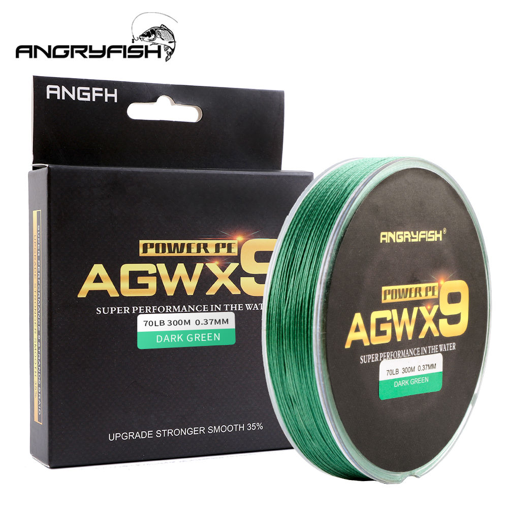 Angryfish 9 virzieni 300m / 327YD Super PE pītas makšķerēšanas līnija Strong Strength Line Braided Fishing Thread