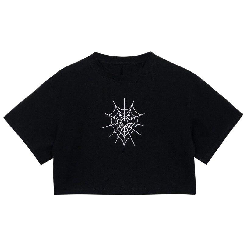 Linda camiseta diseño de tela de araña Kawaii Harajuku camisa mujer ropa corta cuello redondo Casual camiseta suelta Streetwear