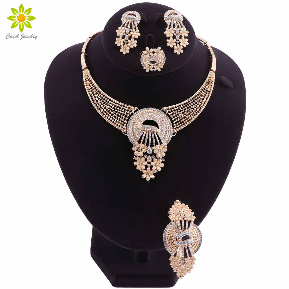 Fashion African Beads Crystal Jewelry Set Brand Dubai Gold Color Jewelry Sets Nigerian Wedding Bridal Necklace Earrings Set