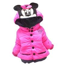 Куртки для маленьких девочек; коллекция года; сезон осень-зима; куртка для девочек; зимнее пальто с Минни Маус; детская одежда; детская теплая верхняя одежда; пальто; большие размеры