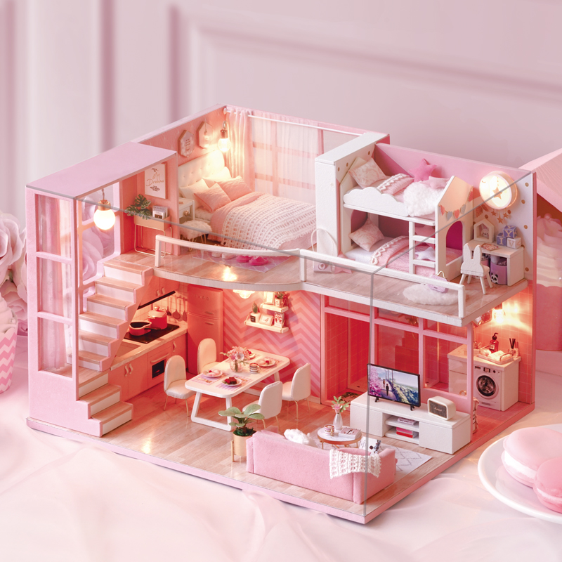 New Furniture Doll House Wooden Miniature DIY DollHouse Furniture Kit Assemble Doll Home Toys For Christmas Children Girl Gift little book of earrings
