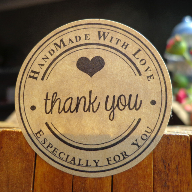 102pcs 1200pcs round kraft seal sticker handmade with love thank you gift